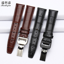 Folding buckle leather strap mens wristband for IWC Portuguese timing seven day chain IW371446 pilot series IW377709 strap