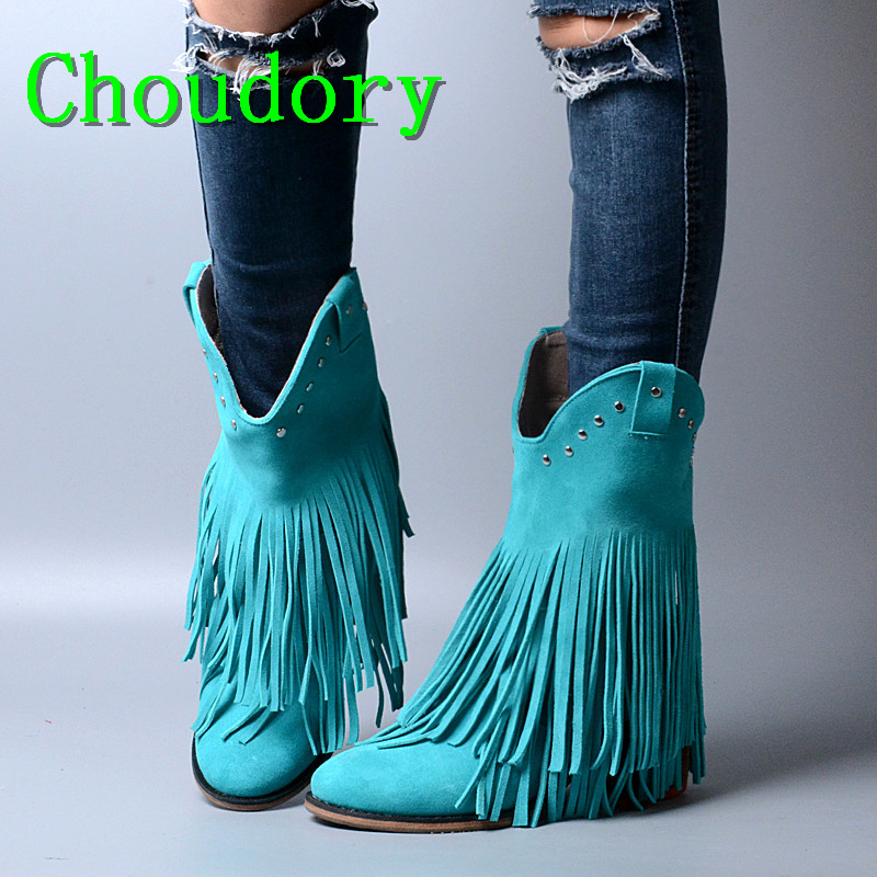 Choudory New Ankle Boots For Women Genuine Leather Fringe Knight Boots Slip-On High Heels Rivet High Quality Woman Shoes Winter