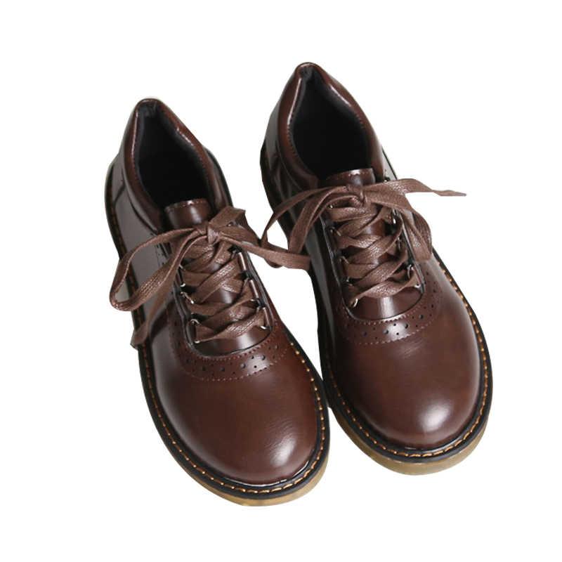 Zapatos Oxford antiguos para mujer, zapatos de piel sintética, zapatos de tacón plano para mujer, zapatos planos estilo británico, zapatos planos Retro marrones, negros, zapatos para mujer