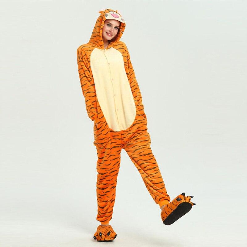 Funny Orange Tiger Animal Kigurumi Flannel Onesie For Women Pajamas Party Bodysuit Cosplay Unisex Sleepwear Halloween Pyjamas (2)