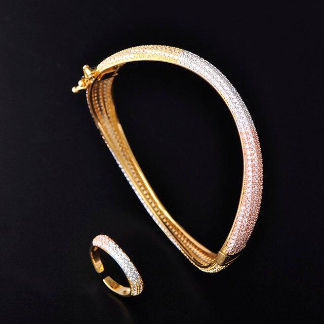 c4474c8c43b3 Dazz Dubai conjunto de joyas boda brillante Tricolor circón Color oro  anillo cobre brazalete para vestido fiesta mano accesorios lujo regalos