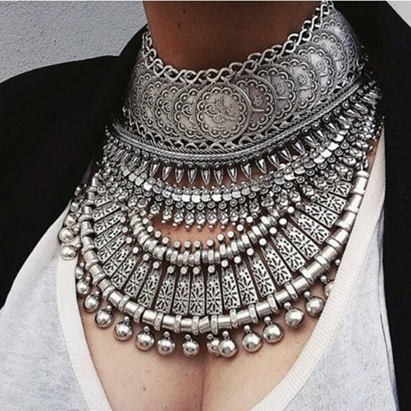 Collar Coin Necklace & Pendant Vintage Crystal Maxi Choker Statement Collier female Big Fashion Women Jewellery