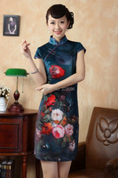 Shanghai Story Handcraft Chinese100% Velour Hand-Made Painted MINI Cheong-sam Evening Dress Cheongsam 2 color Size S-XXL TD0011