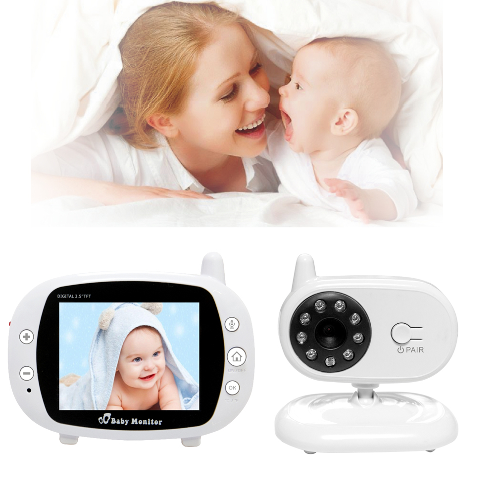 Wireless Video Baby Monitor 3.5 inch LCD Digital Baby Nursing Babysitter Lullaby Temperature Detection baby Camera