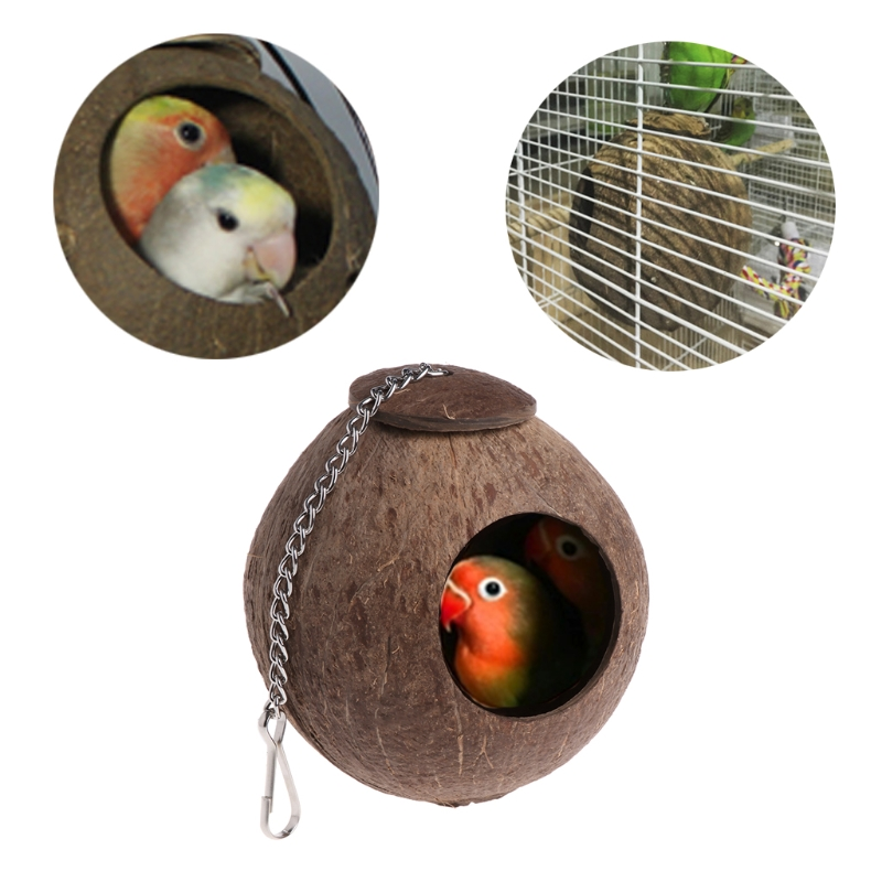 Natural Coconut Shell Birds Nest House Hut Cage Feeder Toy
