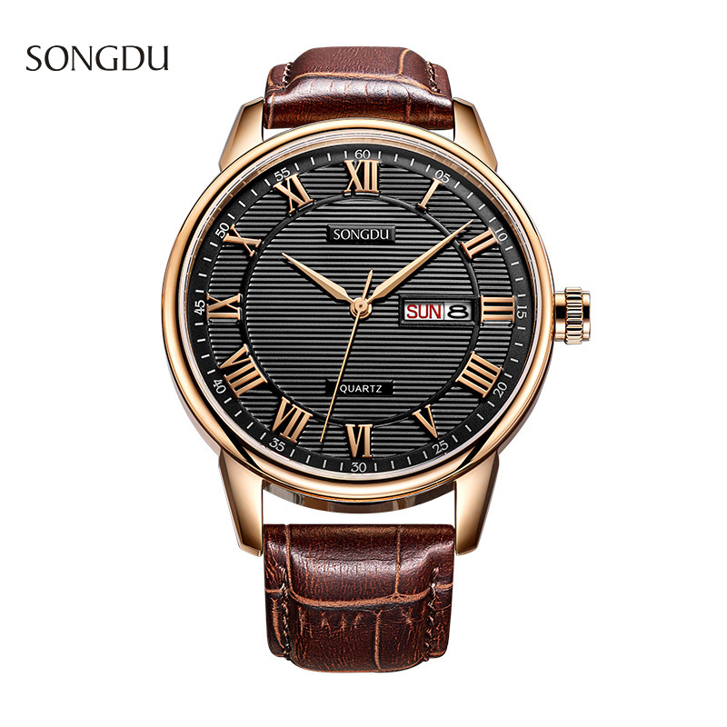 SONGDU Brand Casual Men's Sports Watches Roman numerals Quartz Watch Men Waterproof Leather Wristwatches Relogio Masculino Clock high quality brand leather casual watch women ladies fashion dress quartz wristwatches roman numerals watches men gift unisex