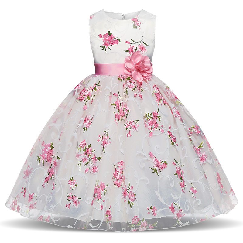 Baby Girl Dress 2018 Summer Children Sleeveless Floral Dresses With Flower Sash Kids Princess Costume School Clothing For Girls flower baby girls princess dress girl dresses summer children clothing casual school toddler kids girl dress for girls clothes page 2
