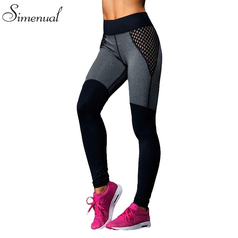 Hot sale mesh splice fitness leggings trousers for women athleisure 2017 jeggings grey black slim legging