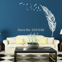 Feather Wall Stickers and Flying Bird Wall Decal the Flying Feather Vinyl Art Sticker for Living Room Decor