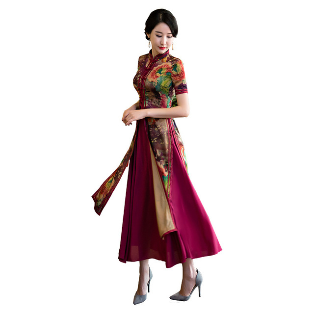 New Arrival Chinese Traditional SIlk Aodai Women Slim Cheongsam Novelty  Print Flower Sexy Formal Dress Female 768ad76076e5