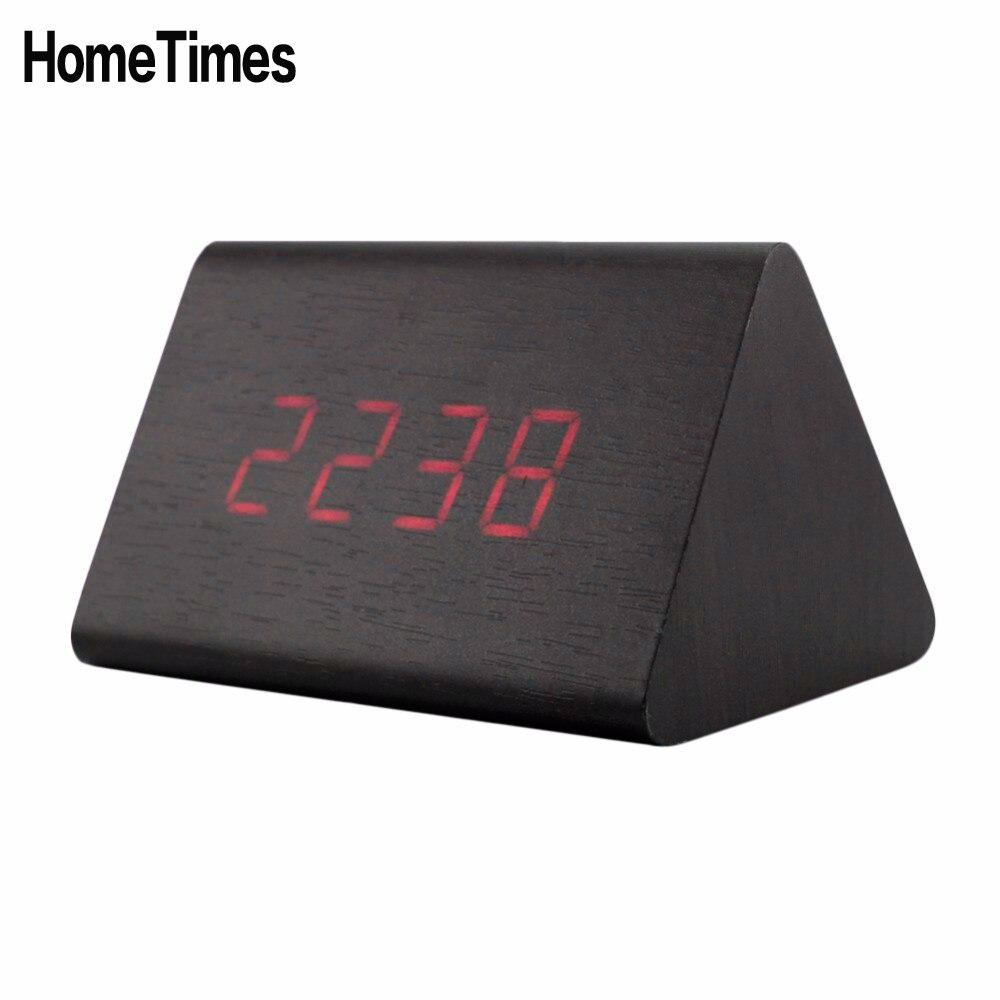 Contrôle du son Led en bois thermomètre numérique réveil température de bureau désesptador batterie/USB alimenté horloge de Table-FZ