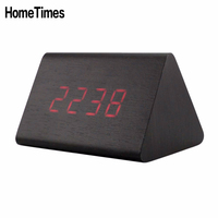 Sound Control Led Wooden Digital Thermometer Alarm Clock Temperature Desktop Despertador Battery USB Powered Table Clock