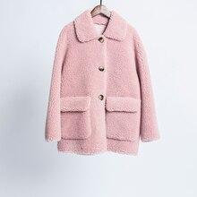 winter coat women 2019 new arrival Shearling Lamb Fur Coat Women Wool Fur Coat with Faux Suede Leather Liner недорого