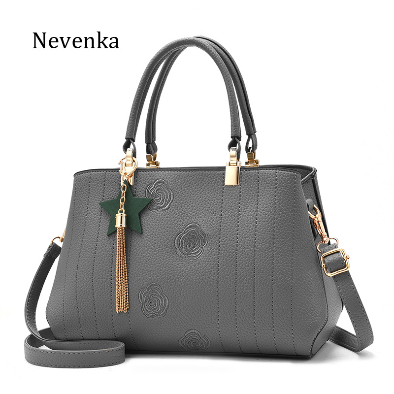 Nevenka Brand Women Pu Leather Shoulder Bag Tassel Embroidery Handbag Fashion Lady Crossbody Bag New Design Messenger Bags Tote
