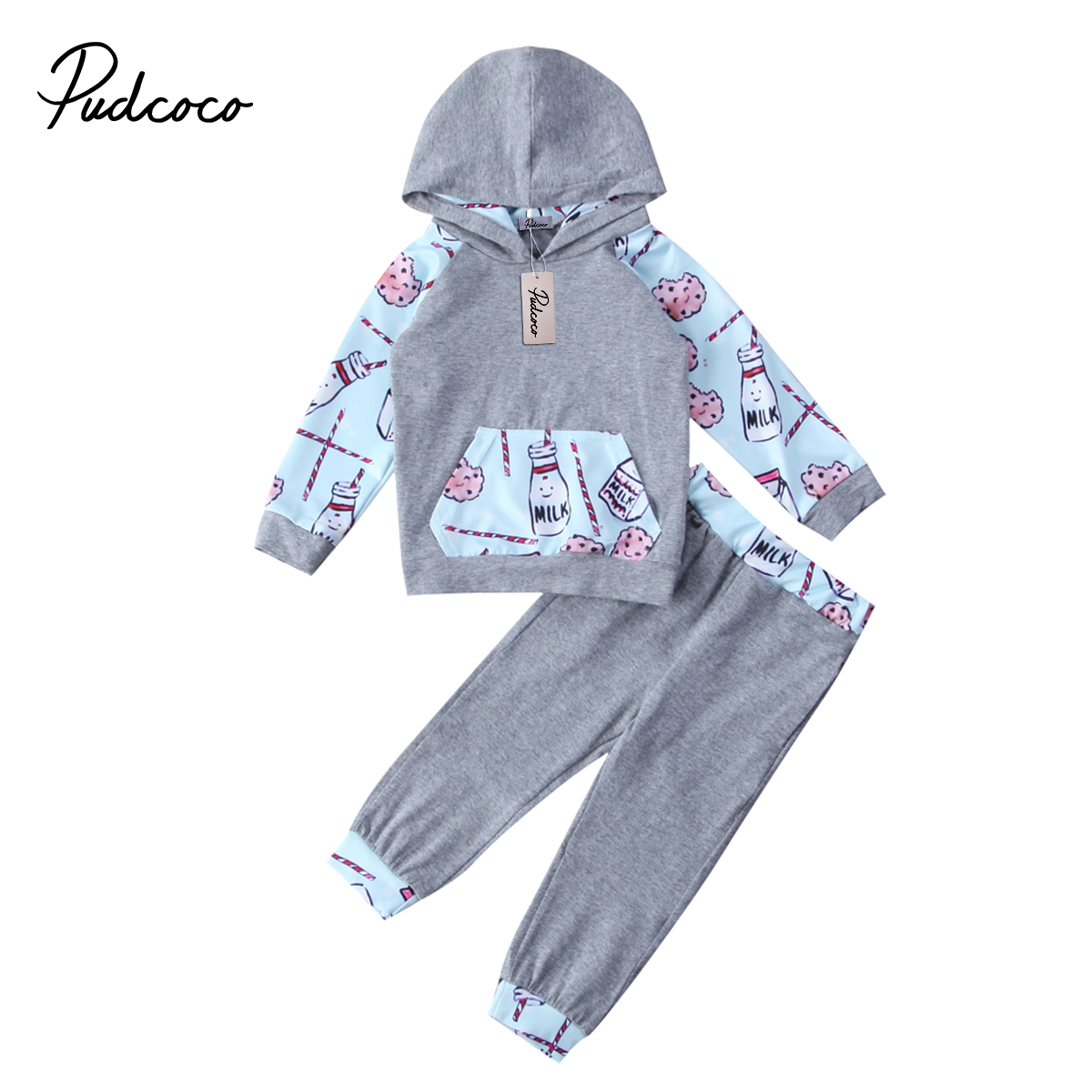2Pcs Baby Clothing Toddler Baby Boys Girls Tops Long sleeve Print Hoodie Sweatshirt Tops Pants Home Outfits Set Clothes 0-2T