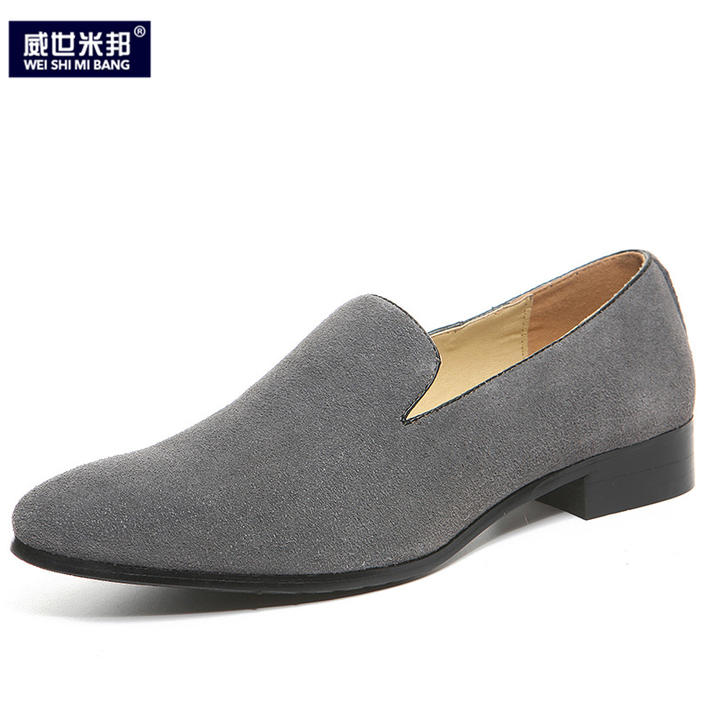 US6-9 Mens Flock pointed Toe Slip On Oxfords Casual THick Heel Dress Shoes Men 6 Colors