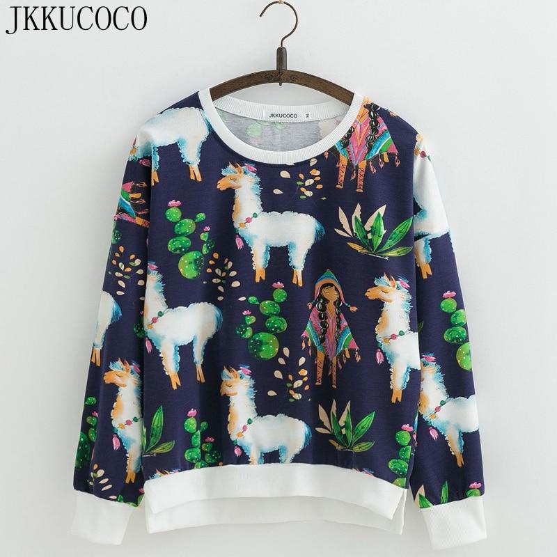 JKKUCOCO Women Sweatshirt Long Sleeve O neck Pullover Print Flowers Thin Loose Casual Sweatshirts Women Cotton