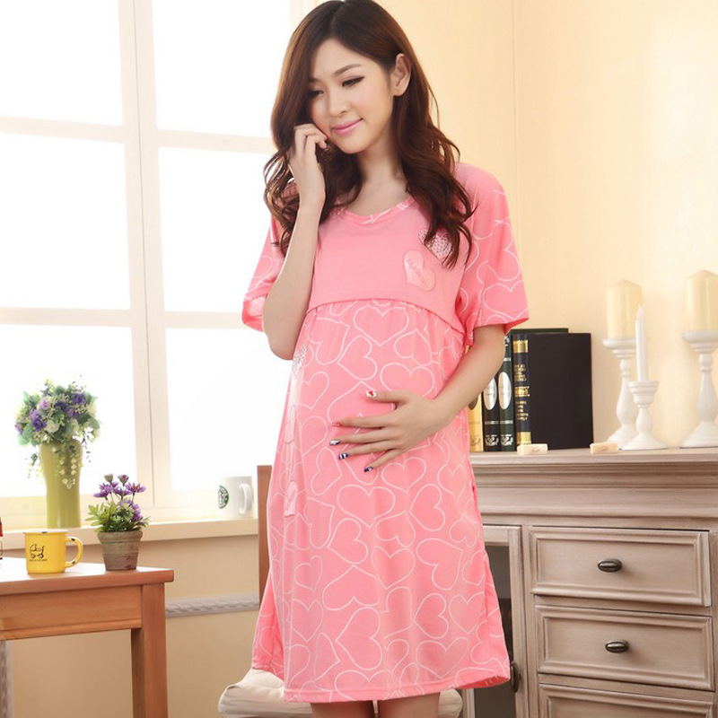 The summer wear cotton skirt out of confinement feeding lactating women thin short sleeved dress women pajamas nightdress