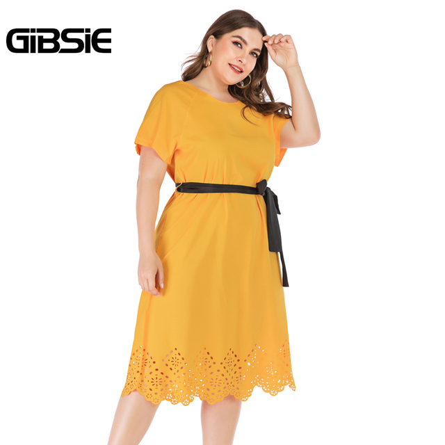 GIBSIE Plus Size Casual Solid Round Neck Short Sleeve Midi Dresses Summer Women Tunic Belted Hollow out Straight Dress 1