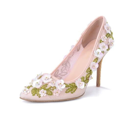 Elegant Floral Decoration High Heel Pumps Laser-cut Mesh Shoes Slip-on Pointed toe Women Dress Shoes Sexy Wedding Bride Shoes sequined cloth women pumps super high heel sexy shoes pointed toe wedding shoes women pumps slip on elegant party wedding pumps