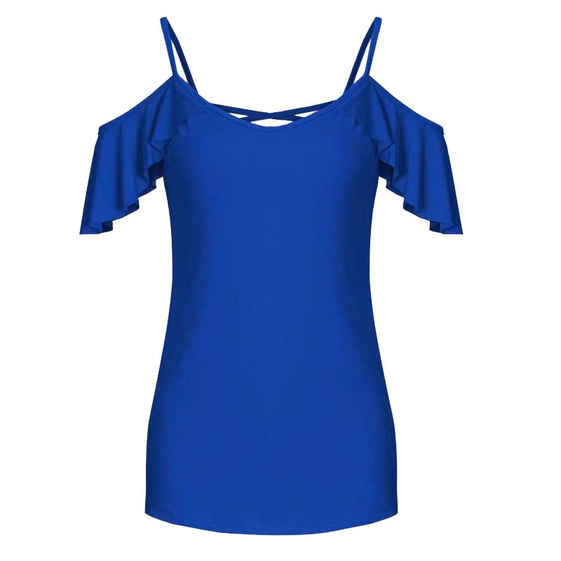Más Hombro Blue Verano Mujeres Tops Negro Casual blanco Nuevas navy Ws201r Blusa Tamaño Camisas Ruffle Corta Blusas Mujer 2017 Fría Manga amarillo Moda ZXRwR8