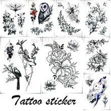 Etiquetas pretas & brancas da tatuagem da flor e do pássaro do esboço, etiquetas descartáveis temporárias da tatuagem, etiquetas do flash da festa fêmea