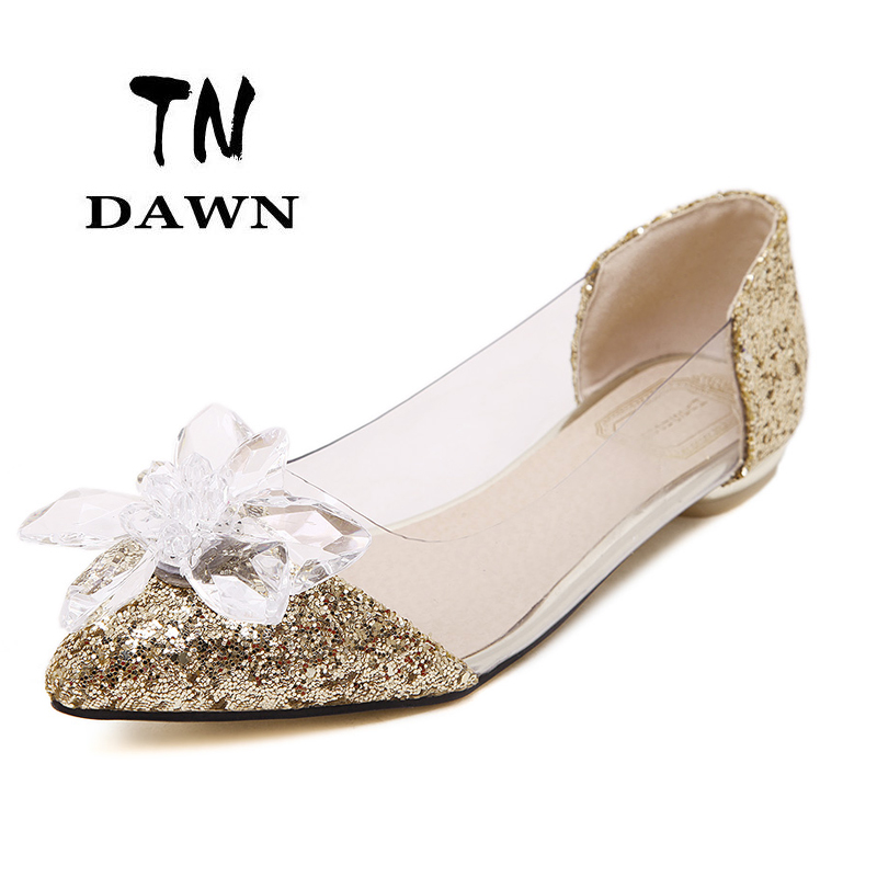 New Style Hot Sell Fashion Flat Transparent Pointed Toe Shallow Mouth Princess Crystal Women Sweet Stilettos Wedding Party Shoes e hot sale wholesale 2015 new women fashion leopard flat shallow mouth shoes lady round toe shoes