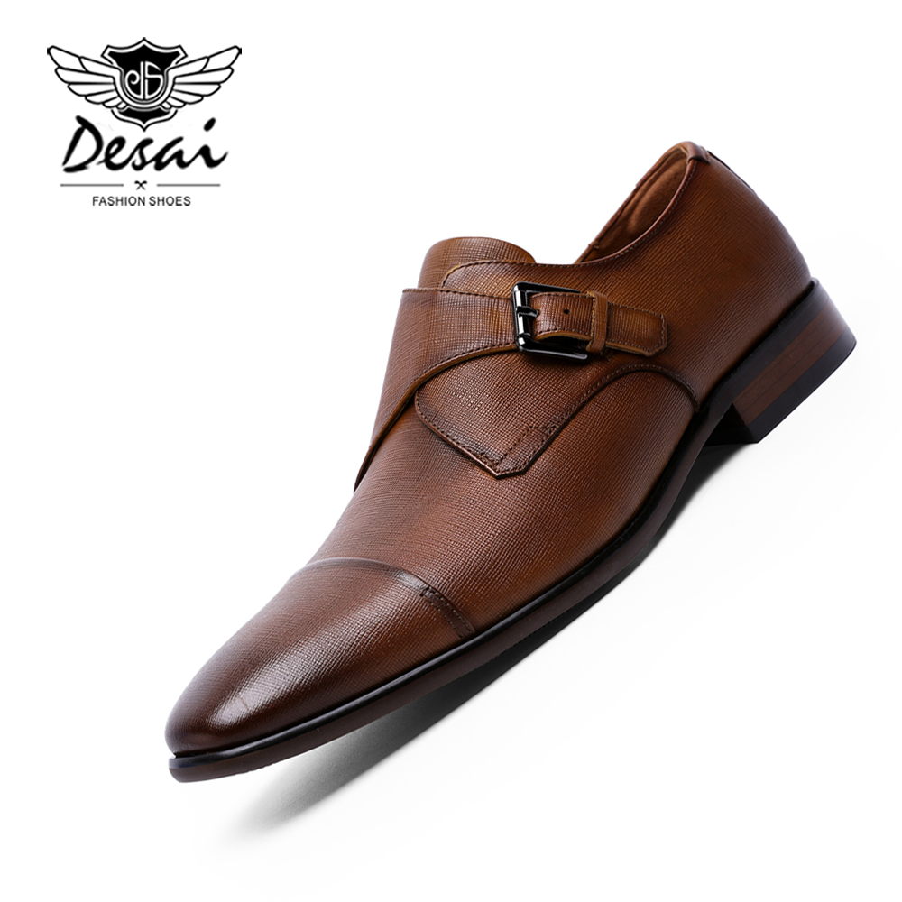 Desai 브랜드 남성 스님 스트랩 신발 정품 가죽 비즈니스 드레스 신발 우아한 남성 슬립 온 공식 신발 클래식 브라운-에서포멀 슈즈부터 신발 의  그룹 1
