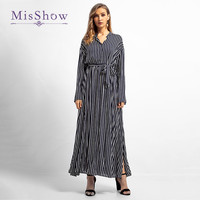 Misshow Elegant Waist Tie Bow Long Sleeve Women Dress V Neck Floor Length Long Muslim Dress Straped Islamic Dress