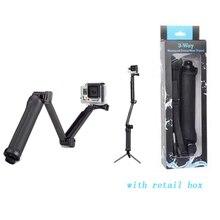 For GoPro Three-way Monopod + Tripod+Grip Tremendous Transportable Magic Mount for xiaomi yi GoPro Hero4 / Three+ / Three/ 2 + SJ4000 / Free delivery