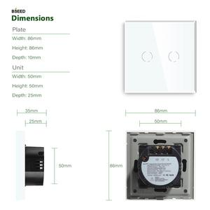 Image 5 - Bseed Touch Switch 1 Gang 1 Way 2 Way EU Standard Touch Sensor Switch Black White Golden With Glass Panel
