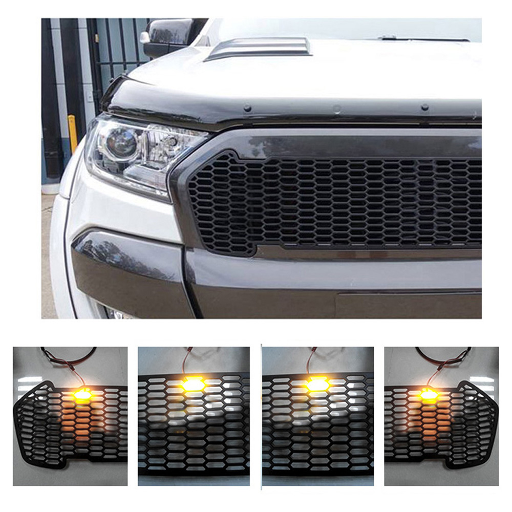 the lowest price sale 4 colors to choose with or without light for Ford ranger T7 2016-2017 Grille ABS Front Grid boomboost led front racing grill grille for ford ranger t7 2016 2017 led light for choice 4 colors available best selling