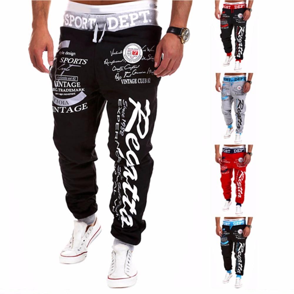 2017 New Fashion Men Letter Print Pants Hip Hop Joggers Pants Male Trousers Mens Joggers Solid Pants Sweatpants Large size 4XL