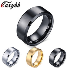 Fashion Charm Jewelry 8mm men Ring Titanium Black/Gold/Silver Rings For Women(China)