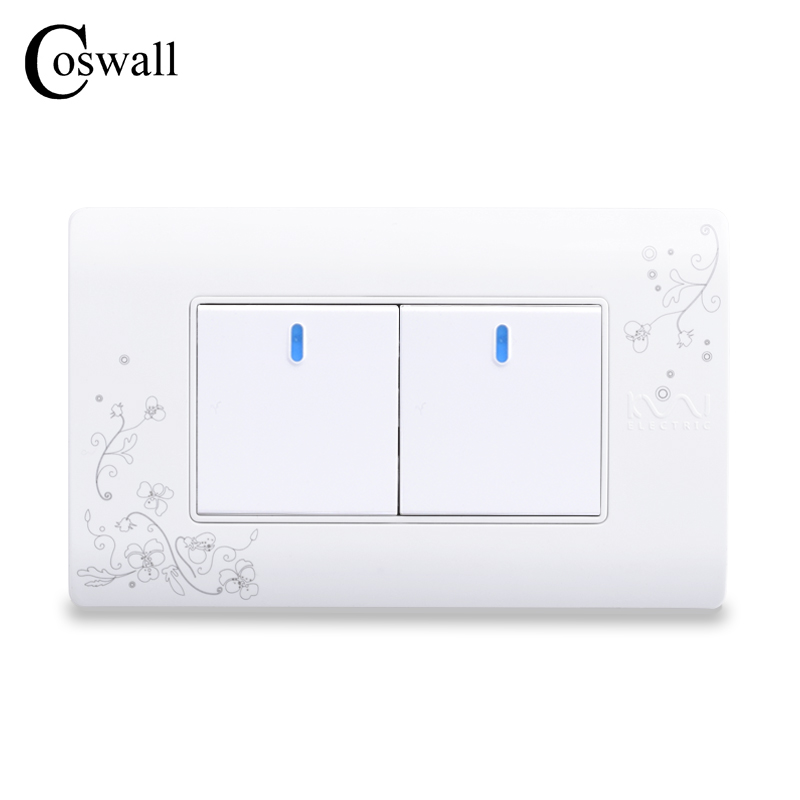 цена на COSWALL Simple Style 2 Gang 2 Way Push Button Wall Switch Interruptor White Color Light Switch 114*70mm AC 110~250V C30-118-102