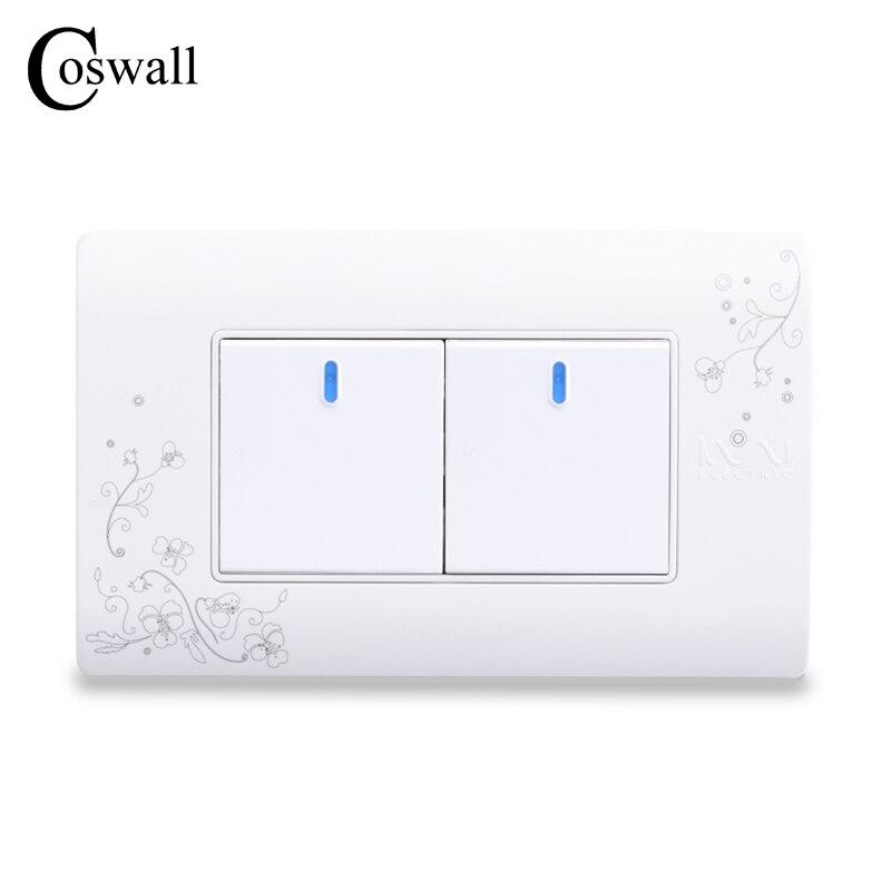 Interruptor de luz de cor branca 114*70mm ac 110 ~ 250 v C30-118-102 coswall estilo simples 2 gang 2 maneira interruptor de parede de ligar/desligar