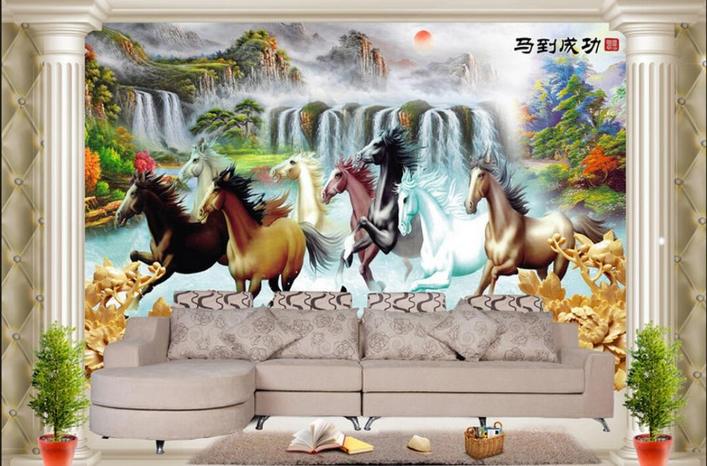 Custom photo 3d room wallpaper Non-woven mural Horse run landscape decoration painting 3d wall murals wallpaper for walls 3 d custom photo 3d wallpaper non woven mural the pyramids of egypt decoration painting 3d wall murals wallpaper for living room