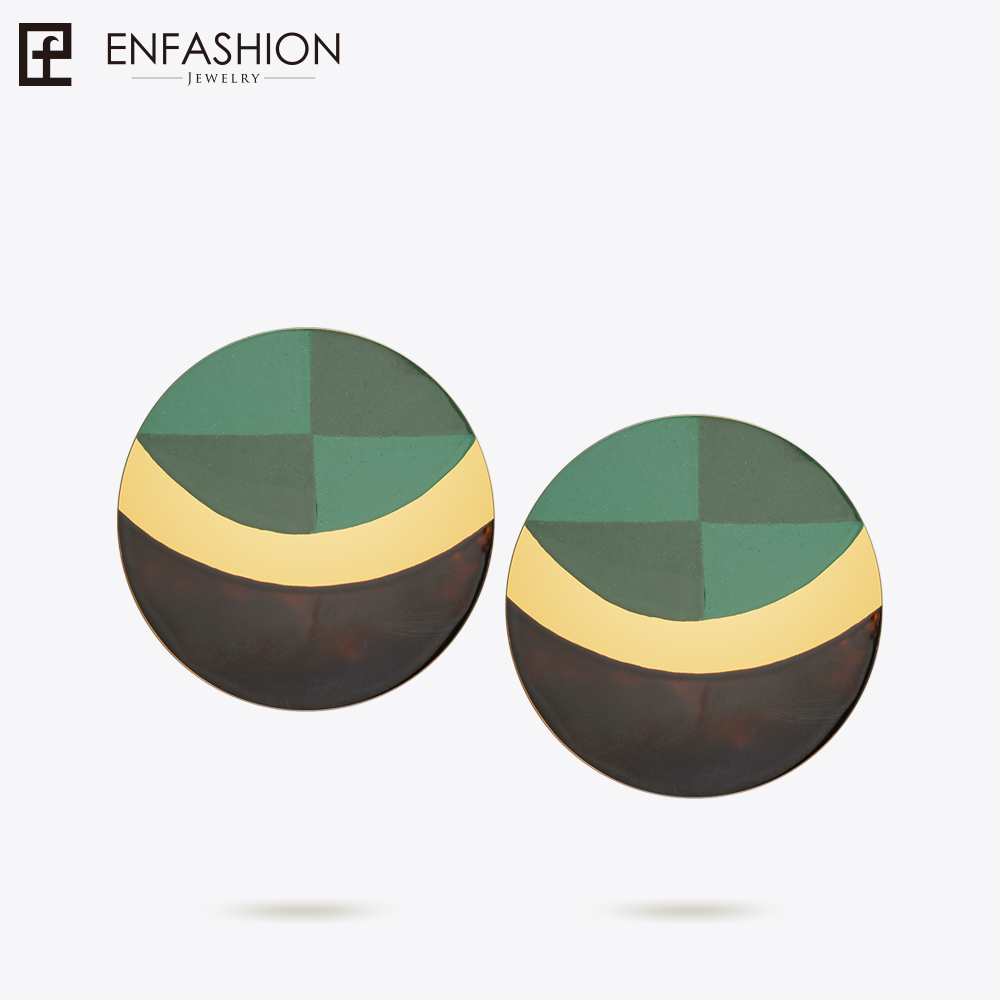Enfashion Lacquer Art Series Green of Life Stud Earrings Gold Color Earrings for Women Earings oorbellen EBQ18LA03 pair of stylish rhinestone triangle stud earrings for women
