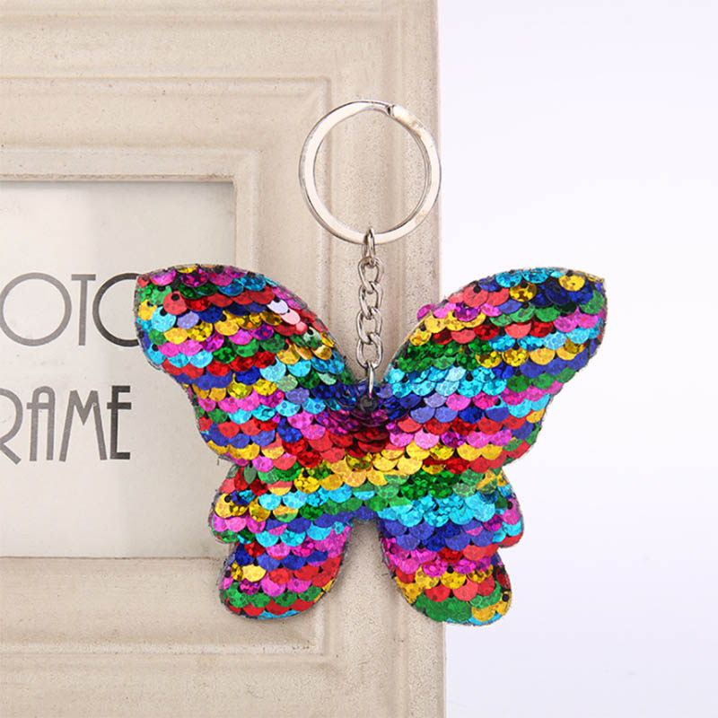 Chaveiro Beautiful Butterfly Keychain Glitter Sequins Key Chain Gifts For Women Girl Llaveros Mujer Car Bag Accessories Key Ring
