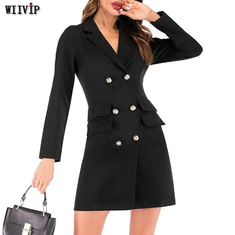 2019 New Autumn Winter Blazer Women Jacket Women's Double Breasted Long Office Lady Elegant Solid Blazer Dress Spring Coat 9592
