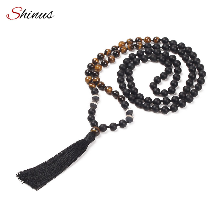 SHINUS New 108 Mala Beads Women Natural Necklace Tiger Eyes Matt Black Stone Miax Kontted Statement Tassel Pendants & Necklaces luna chiao fashion ins popular round natural stone fan fringed cotton tassel necklaces pendants for women