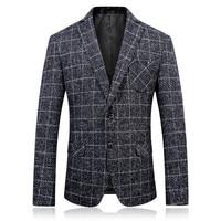 2017 autumn men's Grey plaid fashion casual blazers men coats jacket classics business woolen blazer man suit full size M 3XL