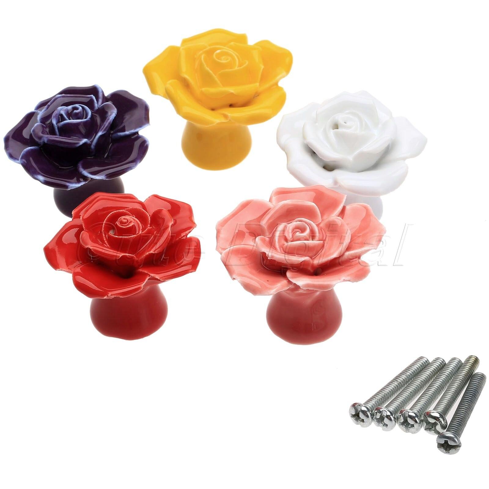 4 Pcs Vintage 128mm Ceramic Flower Roses Handle Knobs Cabinet Drawer Pulls.