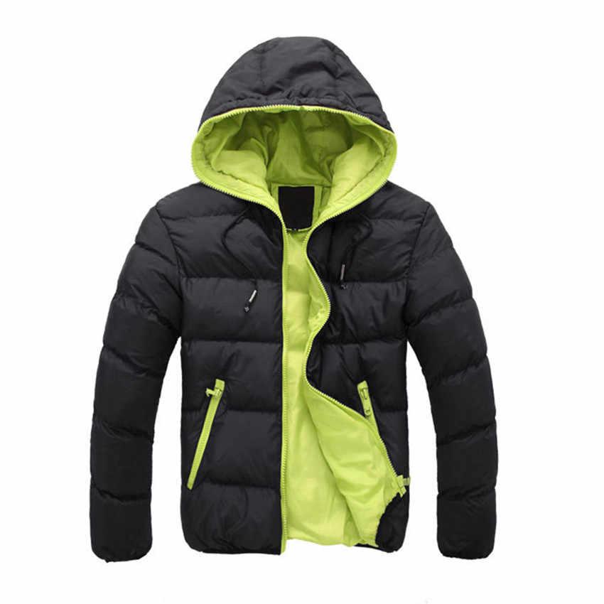 冬のジャケットの男性の上着ファッションウインドブレーカーウォームコートカジュアルメンズジャケット厚いパーカーブランドスリムメ生き抜く 2018 新