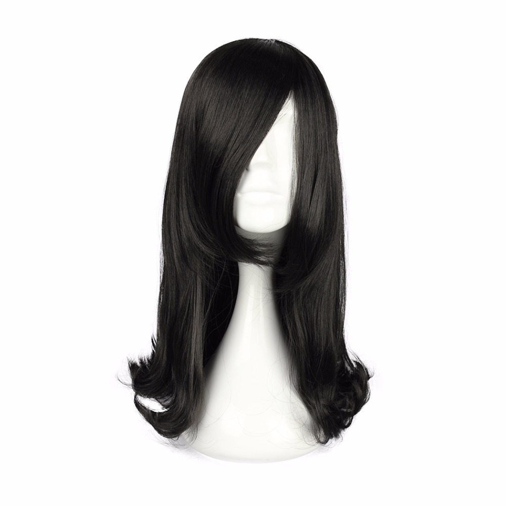 MCOSER 45CM Womens Long Curly Synthetic Full Hair Cosplay Black Wig Party 100 High Temperature Fiber