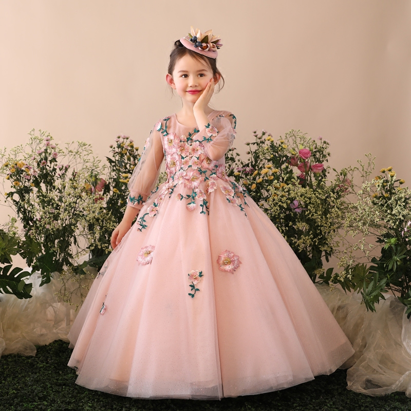Fashion Girls Ball Gown Dress Embroidery Lace Dresses for girl Party Costume Christmas Evening First communion Dresses JF303Fashion Girls Ball Gown Dress Embroidery Lace Dresses for girl Party Costume Christmas Evening First communion Dresses JF303