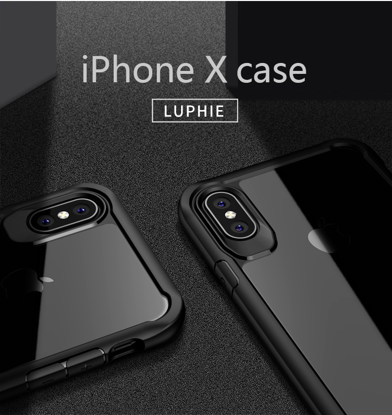 LUPHIE Shockproof Armor Case For iPhone X 8 7 6 6S Plus 5 5S SE Transparent Case Cover (3)