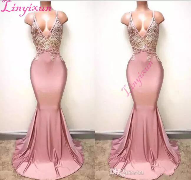 Dusty Pink Sexy Spaghetti Straps Mermaid   Prom     Dresses   2018 Deep V Neck Sexy Backless Lace Sequins Beaded Formal Evening Gownn