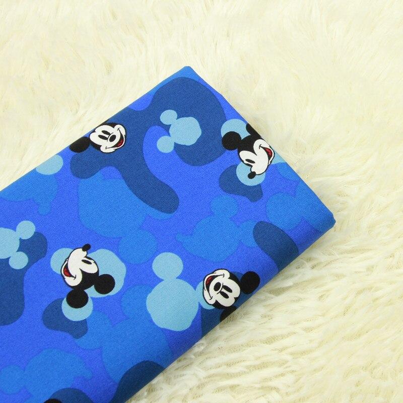 half meter cartoon blue bottom with mickey print fabric, handmade DIY garment babys dress cloth soft comfortable A630