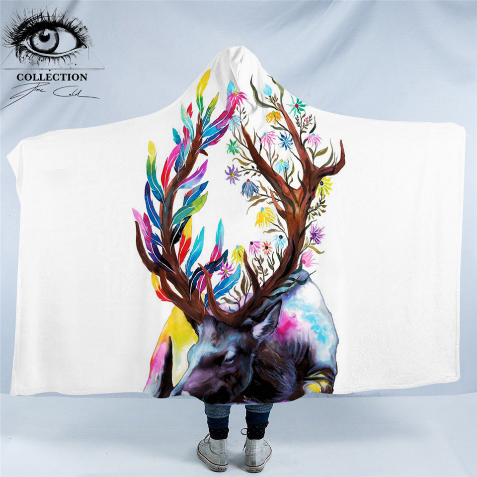 King of the Forest by Pixie Cold Art Hooded Blanket Watercolor Elk Sherpa Fleece Wearable Floral Animal Throw Blanket 150x200cmKing of the Forest by Pixie Cold Art Hooded Blanket Watercolor Elk Sherpa Fleece Wearable Floral Animal Throw Blanket 150x200cm